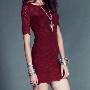 Nightcap Free People Burgundy Lace Victorian Dress